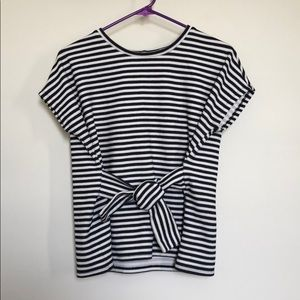 Express Tie front striped shirt